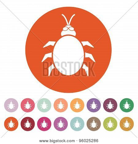 The beetle and bug icon. Acarid, insect, virus symbol. Flat