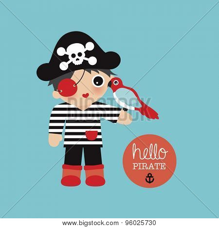 Hello welcome cute little pirate boys birthday postcard invitation with sailor captain and parrot illustration baby boy birth announcement background template in vector