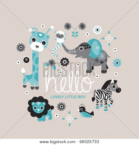 Hello little boy zoo and jungle animals postcard cover design for new born baby boys announcement or invitation