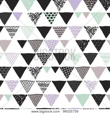 Seamless scandinavian geometric tribal triangle hand drawn geo pastel isolated background pattern in vector