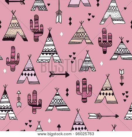 Seamless girls pink teepee tent arrow and cactus botanical indian summer illustration background western pattern in vector