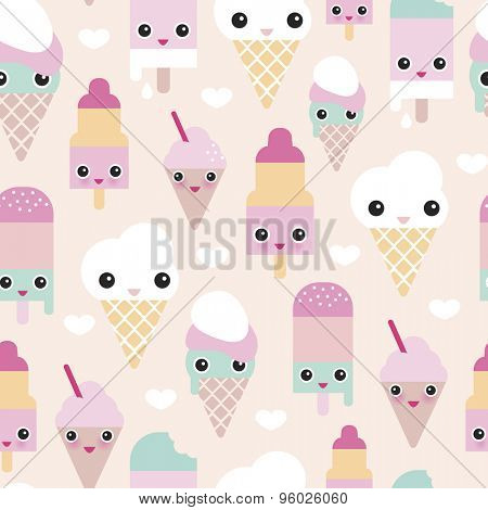 Seamless colorful pastel popsicle adorable kawaii summer candy lollipop ice cream illustration background pattern in vector