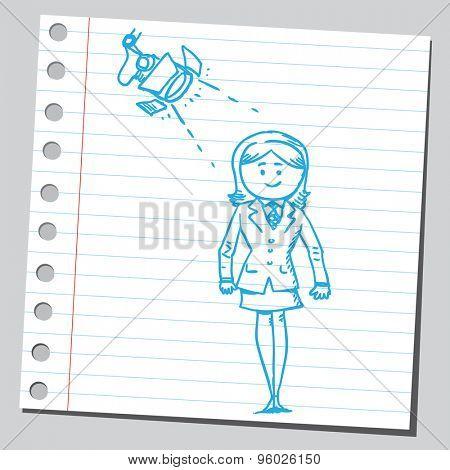 Businesswoman below reflector
