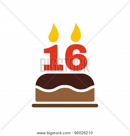 The birthday cake with candles in the form of number 16 icon. Birthday symbol. Flat