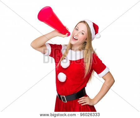 Happy woman with christmas dress shout with megaphone