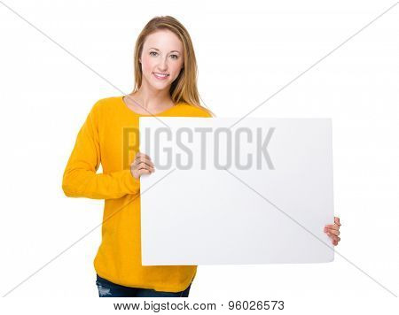 Young woman hold with white board
