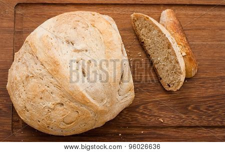 Home Made Bread On Wooden Board - Studio Shot