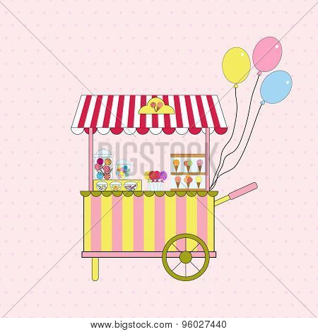Ice cream and candy cart. Vector.