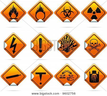 Glossy Diamond Hazard Stickers