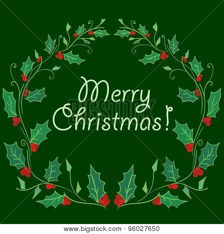 Christmas card with hand lettering or Wreath for Christmas in vector