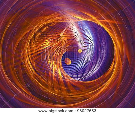 Abstract fantasy tunnel with yellow and purple lines