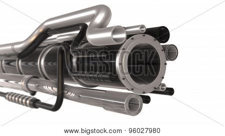 metal pipes isolated