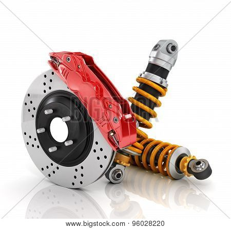 Car Brakes With Absorbers. Auto Parts.
