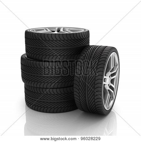 Stack Of Wheels. 3D Image. Isolated White Background.