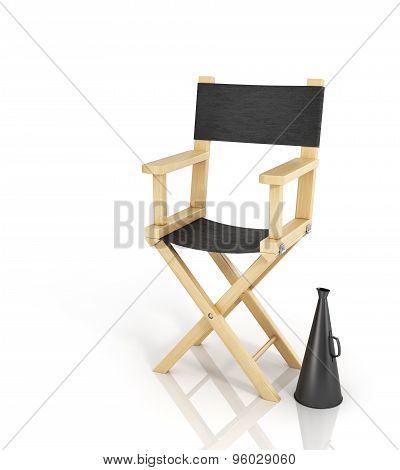 Director Chair And Megaphone On The White Background.
