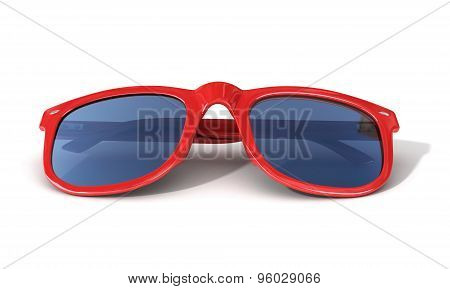 Red SunGlass Isolated Over The White Background.