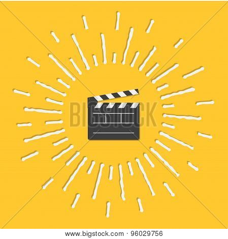 Open Movie Clapper Board Template Icon. Flat Design Style. Shining Effect Dash Line Circle