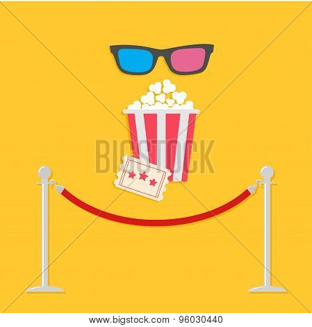 Red Rope Barrier Stanchions Turnstile 3D Glasses Big Popcorn And Ticket. Cinema Icon In Flat Design