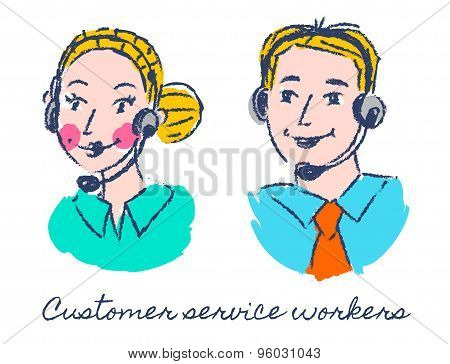 Customer service workers sketch drawing