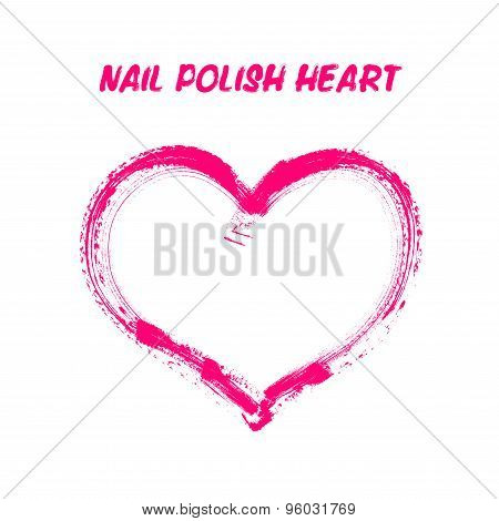Nail Polish Drawing Vector Heart