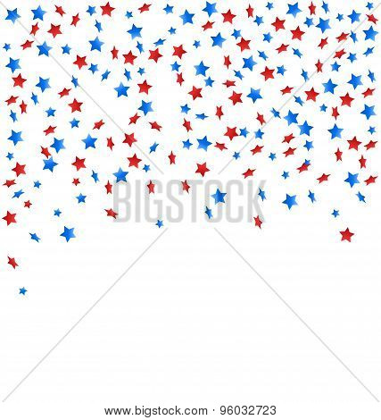 Usa Celebration Confetti Stars In National Colors For Independence Day Isolated On White