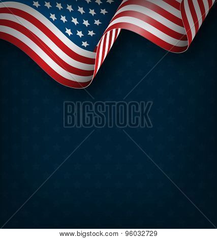 Wavy Usa National Flag On Blue