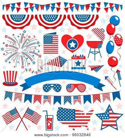 Usa Celebration Flat National Symbols Set For Independence Day Isolated On White