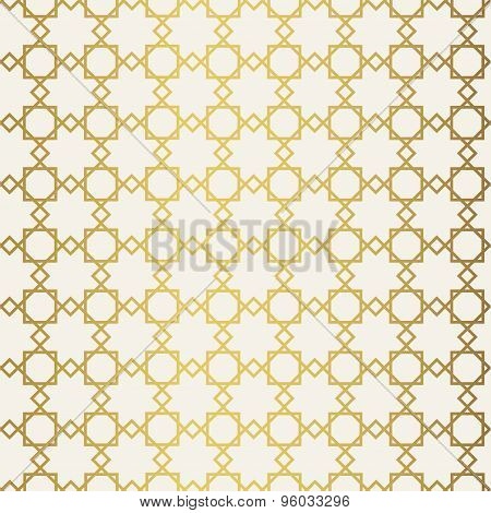 Abstract seamless geometric pattern. Monochrome white wallpaper. Geometry gold grid texture. Vintage
