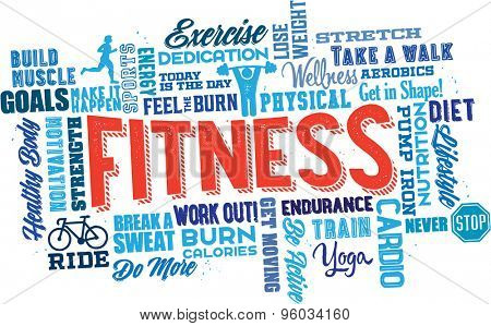 Fitness Word Cloud Collage and Icons