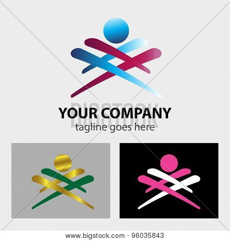 Abstract man people logo sign design vector