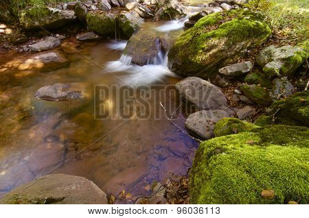 Silky stream in Oza Forest, Echo Valley, Pyrenees, Huesca, Aragon, Spain.