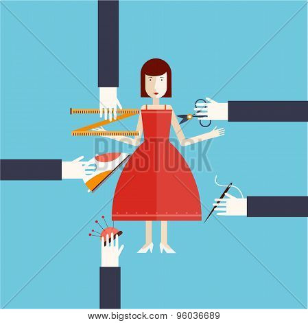 Trying on dresses. Designer clothes flat style vector illustration.