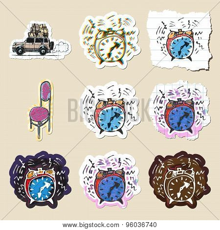 Hand drawn home travel and time emblems set. Isolated