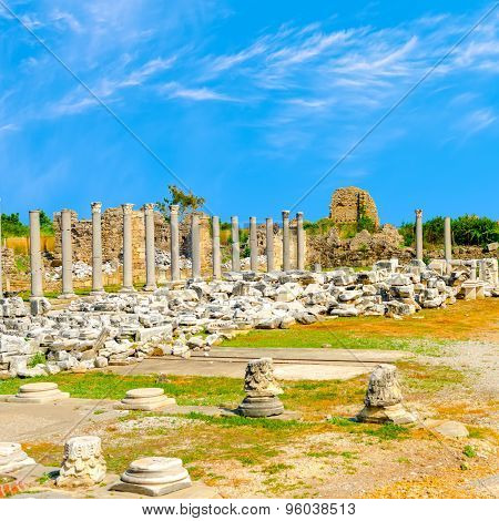 Ancient Ruins Of Goddess Chance Tyche Temple Roman Empire, Side, Turkey, Travel Background