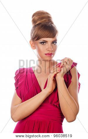 Girl In Evening Dress And Makeup.