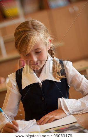 Girl is studying