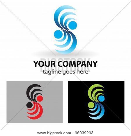 illustration of abstract icons based on the letter S logo spiral symbol