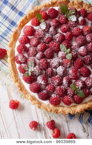 Raspberry Tart With Cream Cheese And Mint Closeup. Vertical Top View