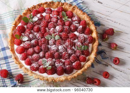Raspberry Tart With Cream Cheese And Mint Closeup. Horizontal