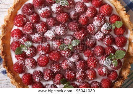 Raspberry Tart With Whipped Cream Macro. Horizontal Top View