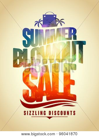 Summer blowout sale text design with tropical backdrop silhouette