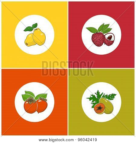 Round White Fruit Icons On Colorful Background