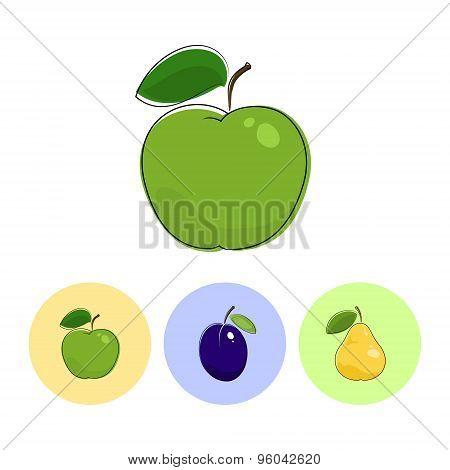Fruit Icons,  Apple, Plum, Pear