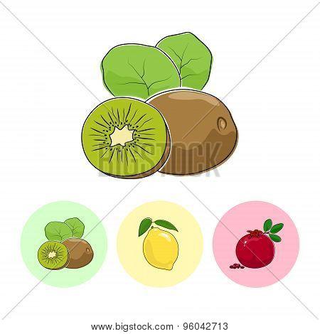 Fruit Icons, Kiwifruit, Lemon , Pomegranate