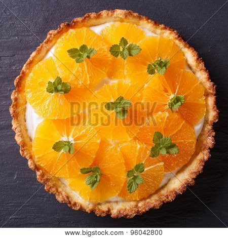 Orange Tart With White Cream Close-up. View From Above