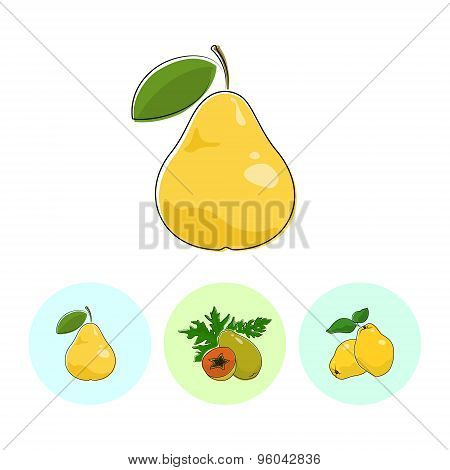 Fruit Icons, Pear , Papaya, Quince