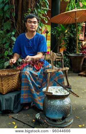Makin of Thai Silk in Bangkok Thailand