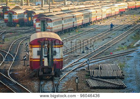 Old Diesel Locomotives and Trains in Bangkok Thailand