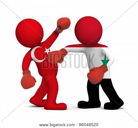 3d people boxing - Turkey against Syria