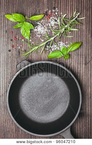 Scattered herbs and salt
